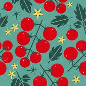 Tomato Cherry Seamless Pattern. Ripe Tomatoes With Leaves And Flowers On Shabby Background. Original poster