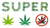 Super Caption Collage Of Hemp Leaves In Various Sizes And Green Variations. Vector Flat Grass Leaves poster