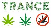 Постер, плакат: Trance Label Mosaic Of Weed Leaves In Various Sizes And Green Shades Vector Flat Grass Items Are Un