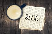 Blog, Blog, Blog - Blogging Concept With Cup Of Espresso Coffee poster