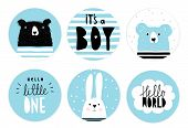 Hand Drawn Candy Bar Baby Shower Vector Tag Set. Blue And White Circle Shape Tags. Black Hand Writte poster