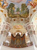 stock photo of pipe organ  - Pipe organ at baroque church in Steinhausen Germany - JPG