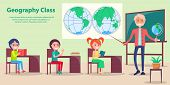 Geography Class Vector Poster. Depicting Teacher And Pupils Studying In Class With Large Map Of Worl poster