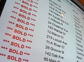 Real Estate Property Sold List on Computer Screen
