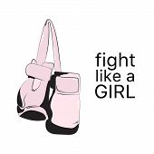 Fight Like  Girl Poster. Feminist Sign Fashion Illustration. Female Art Quote  Typography. Woamn Pow poster