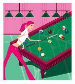 Zodiac Sports Lady. Scorpio. Girl Playing Billiards. poster