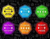 Fitness Symbols Set With Diferent Motivational Legends Inside, Some Fit Objects In Pattern Black Bac poster