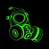 Green contour gas mask isolated over black