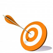 High resolution concept or conceptual orange dart target board with an arrow in center isolated on w