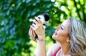 Blonde Girl With Kitten