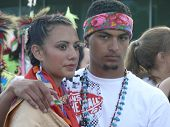 Native American Young Man & Woman in Costume