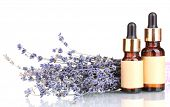 Lavender flowers and aroma oils isolated on white