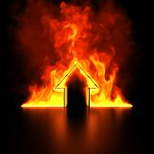 Burning house shape concept