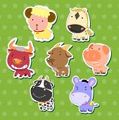 stock photo of dairy cattle  - cute animal stickers with sheep bull goat dairy cattle donkey pig and horse - JPG