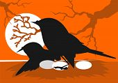 pic of nest-egg  - Illustration of silhouettes of bird sitting with eggs - JPG