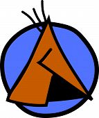picture of tipi  - Tipi or Teepee in Simple Icon or Stylized Graphic Style - JPG