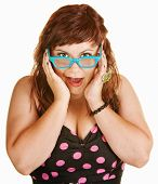 Surprised Woman In Blue Glasses