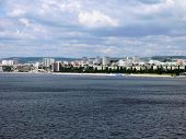 View of the city of Saratov from the bridge through Volga in July 2012.