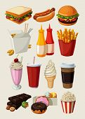 stock photo of unhealthy lifestyle  - Set of colorful cartoon fast food icons - JPG