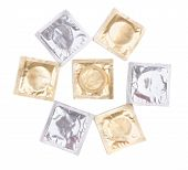 Condoms On White Background