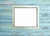 Silvevintage Picture Frame On Blue Wood Background