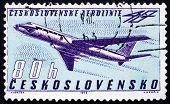 Postage stamp Czechoslovakia 1963 Tupolev Tu-104B Turbojet