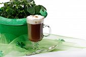 Shamrocks And Irish Coffee On White