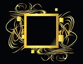 Gold Black Square Element