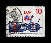 DDR (GERMANY)-Circa 1979: A Post Stamp Printed In Germany Shows Spaceship And Albert Einstein