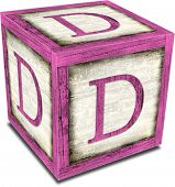 stock photo of letter d  - Vintage alpha block with shadow  - JPG