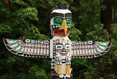 stock photo of indian totem pole  - A native First Nations totem pole in Vancouver BC Canada home of the 2010 Olympics - JPG