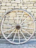 Old Vintage Broken Wood Wheel In Provence, Traditional Wall Background