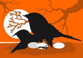 picture of nest-egg  - Illustration of silhouettes of bird sitting with eggs - JPG