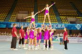 MOSCOW - MAR 24: Unidentified cheerleaders team performs at Championship and Contests of Moscow in c