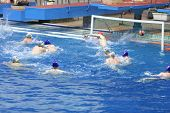 MOSCOW - APR 20: Goal in match on water polo of Olympic Sports complex, on April 20, 2012 in Moscow,