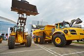MOSCOW - MAY 29: Loader and articulated hauler VOLVO at 13th International Specialized Exhibition of