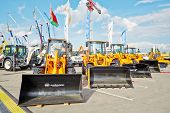 MOSCOW - MAY 29: All-purpose wheel loaders of AMKODOR at 13th International Specialized Exhibition CET 2012 at the international exhibition center Crocus Expo, May 29, 2012, Moscow, Russia.