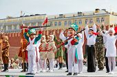 MOSCOW - MAY 27: Concert performance of children collective Multicase on Red Square during 8-th spor