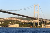 ISTANBUL - JUL 3: Landscape with Ataturk Bridge (Bosphorus Bridge) at sunset on July 3, 2012 in Ista