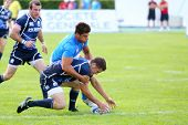MOSCOW - JUN 30: Teams take part in second stage of European championship on rugby-7 in sports compl