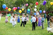 MOSCOW - MAY 22: Children with balloons in kindergarten 1042 at party, on May 22, 2012 in Moscow, Ru