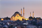 Suleymaniye Mosque in Istanbul, Turkey. Mosque was built in 550-1557. Dome height 53 m, diameter 26.