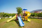 Multicolour slides at children playground