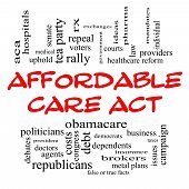 Affordable Care Act palabra concepto de Cloud en gorros rojos