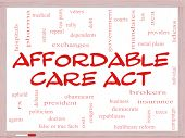 foto of mandate  - Affordable Care Act Word Cloud Concept on a Whiteboard with great terms such as healthcare reform exchanges insurance law and more - JPG