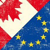 Canadian and european grunge Flag. this flag represents the relationship  between european union and