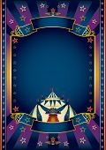 festivities purple circus. A purple and blue circus poster for your show.