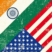 stock photo of indian flag  - USA and Indian grunge Flag - JPG