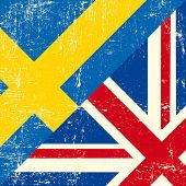 image of sweden flag  - English and sweden grunge Flag - JPG