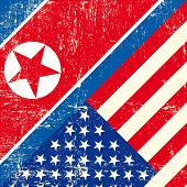 USA and North Korean grunge Flag. this flag represents the relationship  between North  Korea and th